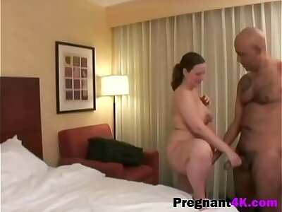 Chubby pregnant chick gets fucked doggystyle by bald dude-big-2